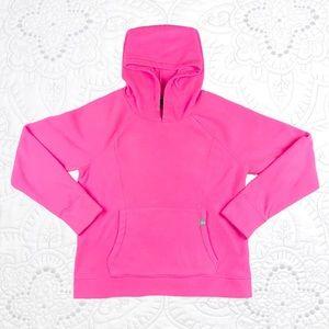 GAP Hot Neon Pink Fleece Pullover Hoodie Size L